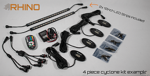 RHINO LIGHTS RGB+W Color Change Rock Light Kit - Cyclone Series