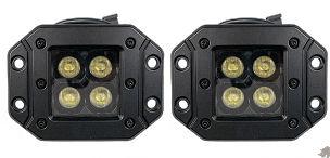 3 inch Flushmount Cree LED Pod Light - 20w Flood - Pair